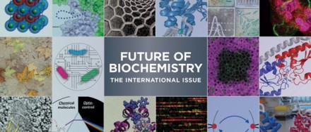 "he cover of Biochemistry's ""Future of Biochemistry: The International issue"" special issue."