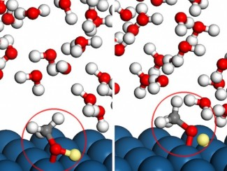 Modeling how methanol interacts with platinum catalysts inside fuel cells