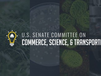 U.S. Senate Committee on Commerce, Science, and Transportation's logo overlaid on images that represent the bioeconomy