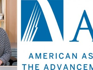 A headshot of Patricia Kiley and the logo of the American Association for the Advancement of Science